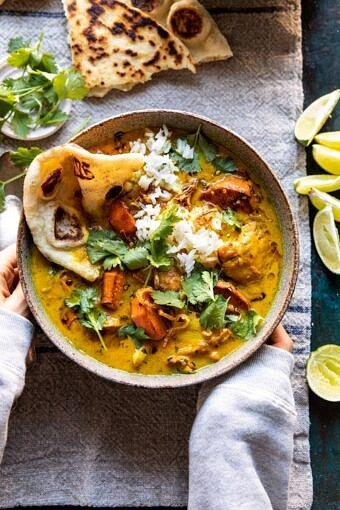 30 Minute Coconut Milk Braised Chicken with Sweet Potatoes and Rice | halfbakedharvest.com #instantpot #easyrecipes #healthy