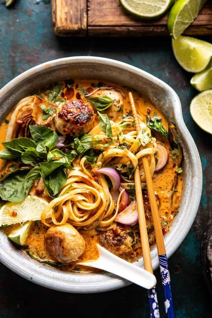 overhead close up photo of 30 Minute Thai Chicken Meatball Khao Soi