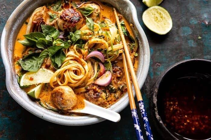 horizontal photo of 30 Minute Thai Chicken Meatball Khao Soi