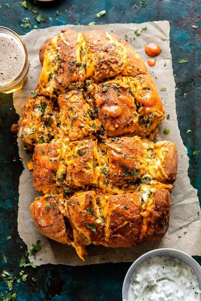 overhead photo of Buffalo Ranch Chicken Pull Apart Bread