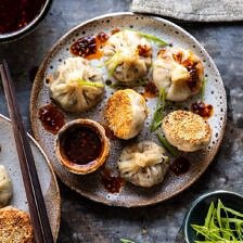 Chinese Mushroom Dumplings with Sweet Chili Ginger Sesame Sauce | halfbakedharvest.com #dumplings #potstickers #chinese