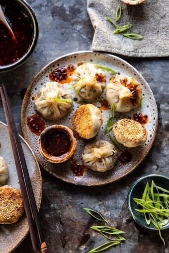 Chinese Mushroom Dumplings with Sweet Chili Ginger Sesame Sauce | halfbakedharvest.com #dumplings #potstickers #chinese