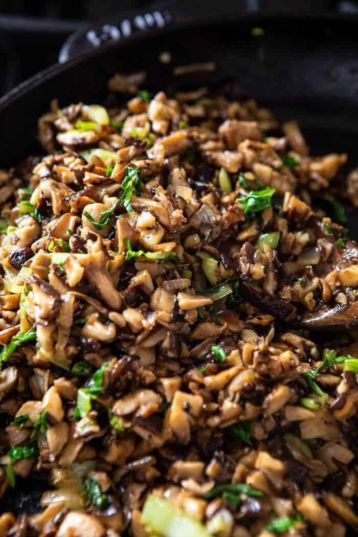 Chinese Mushroom Dumpling filling in skillet