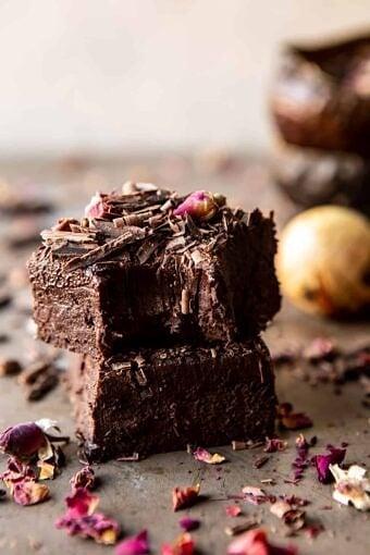 Fudgy Avocado Brownies with Chocolate Fudge Frosting   halfbakedharvest.com #brownies #healthy