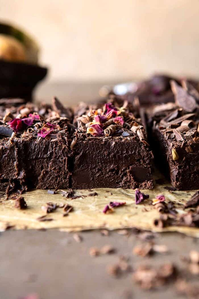side angled photo of Fudgy Avocado Brownies with Chocolate Fudge Frosting