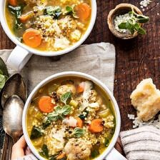 Healthier Italian Wedding Soup with Lemon and Garlic.