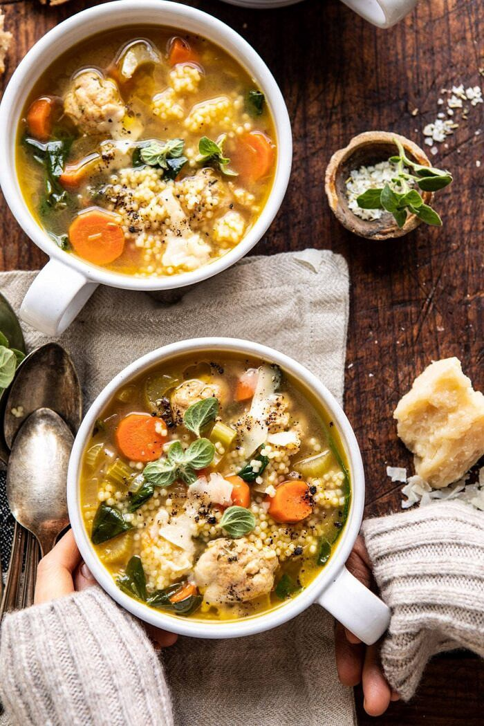 Healthier Italian Wedding Soup with Lemon and Garlic | halfbakedharvest.com #healthy #weddingsoup