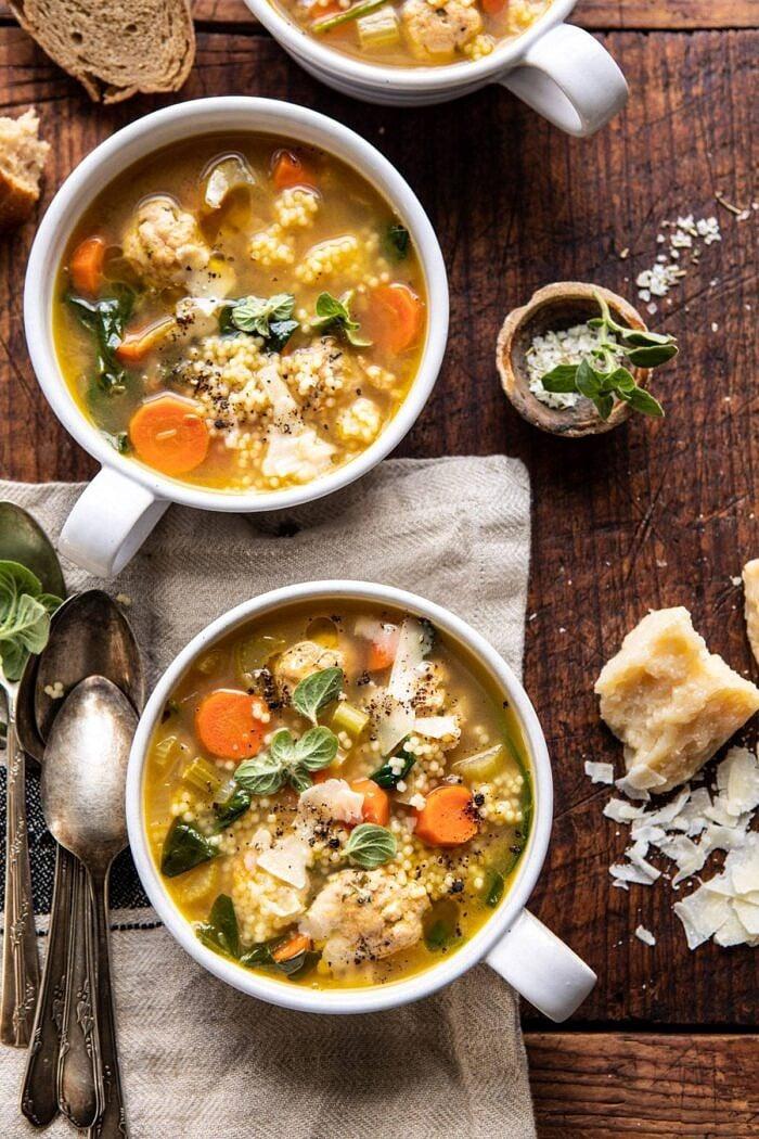 overhead photo of Healthier Italian Wedding Soup with Lemon and Garlic