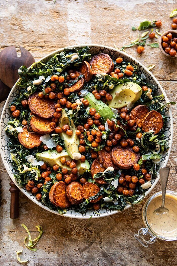overhead photo of Kale Caesar Salad with Sweet Potatoes and Crispy Chickpeas