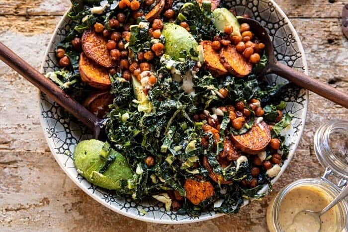 horizontal photo of Kale Caesar Salad with Sweet Potatoes and Crispy Chickpeas
