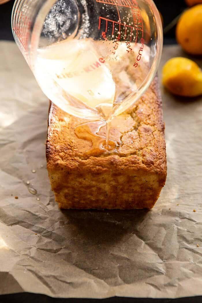 drizzling honey glaze over cake