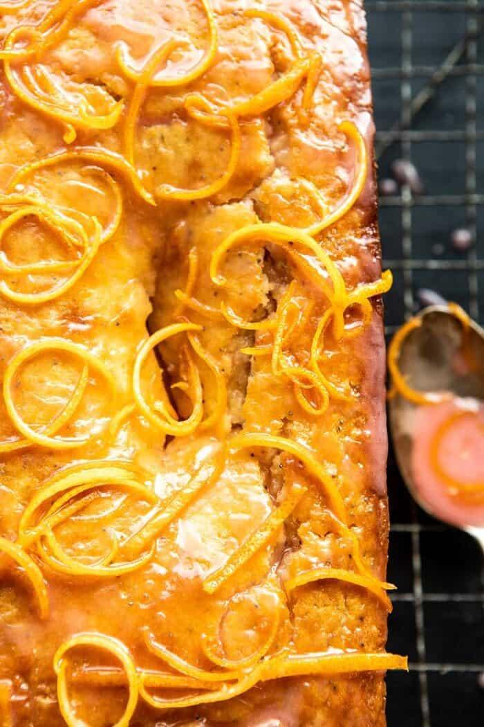 overhead close up photo of Lemon Poppyseed Cake with Citrus Honey Glaze