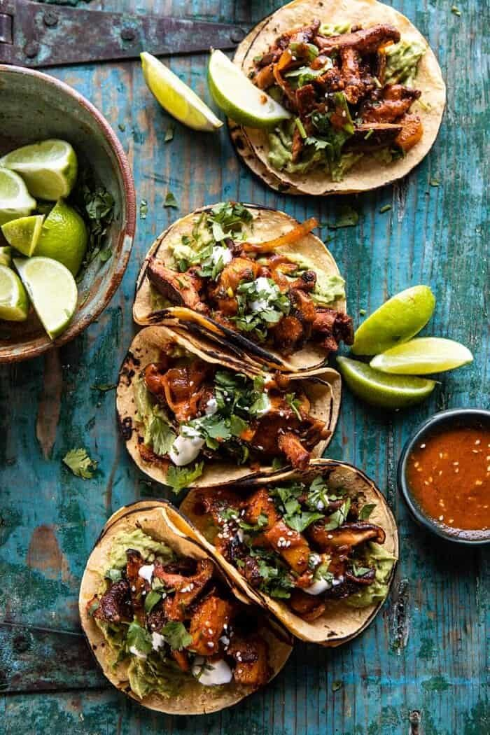 Mushroom Al Pastor Tacos with Garlic Lime Special Sauce.