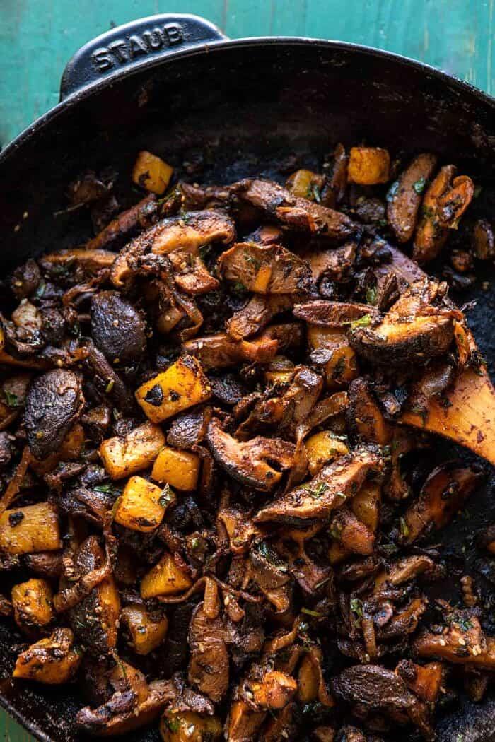 Mushroom Al Pastor mixture in skillet