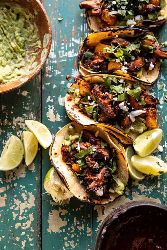 overhead photo of Mushroom Al Pastor Tacos with Garlic Lime Special Sauce