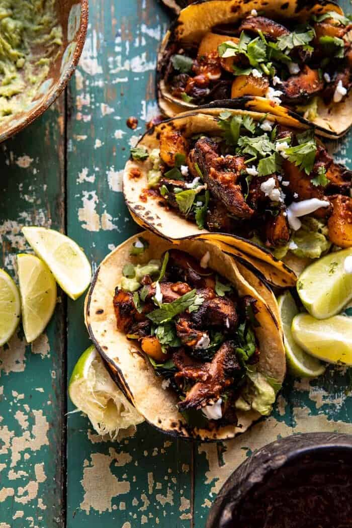 overhead close up photo of Mushroom Al Pastor Tacos with Garlic Lime Special Sauce
