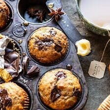 One Bowl Chocolate Chunk Chai Banana Muffins | halfbakedharvest.com #healthy #bananabread #muffin