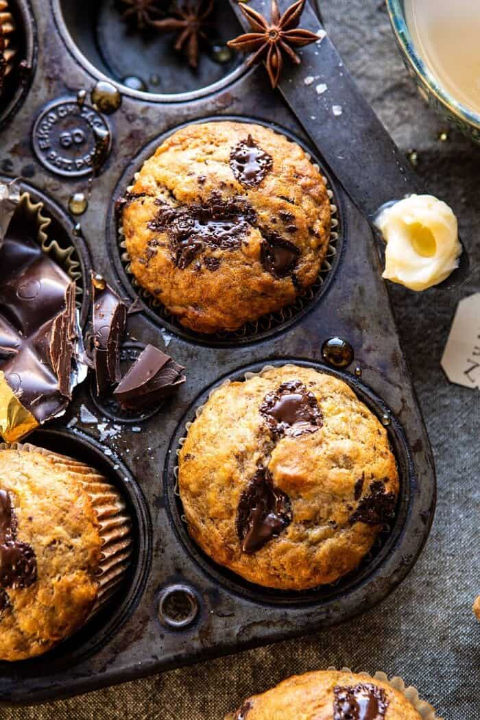 overhead close One Bowl Chocolate Chunk Chai Banana Muffins