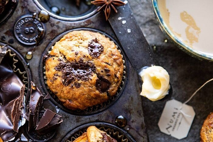 horizontal photo of One Bowl Chocolate Chunk Chai Banana Muffins