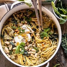 One Pot Creamy Tuscan Pesto and Artichoke Pasta.