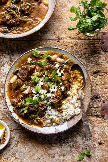 Persian Inspired Herb and Beef Stew with Rice.