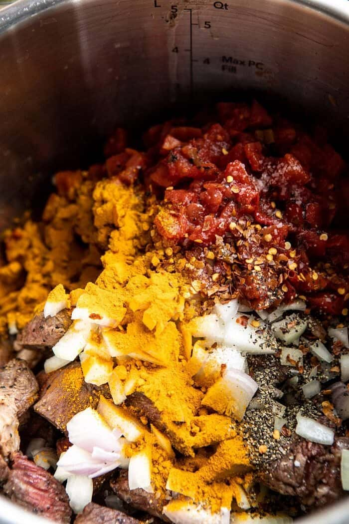 stew before cooking in instant pot