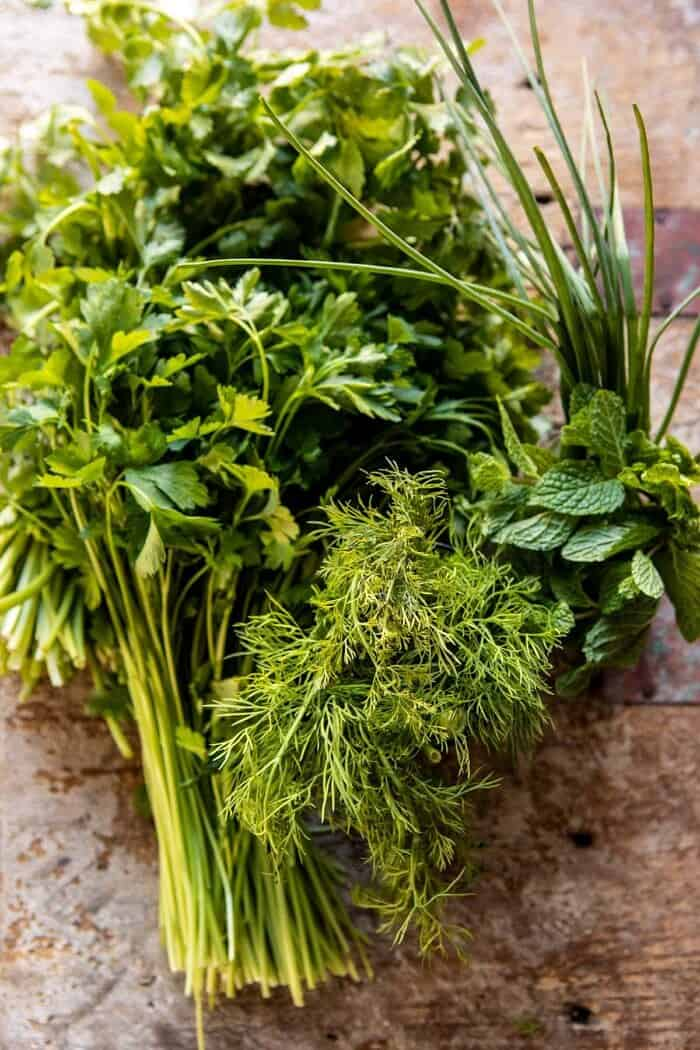 raw herbs before adding stew