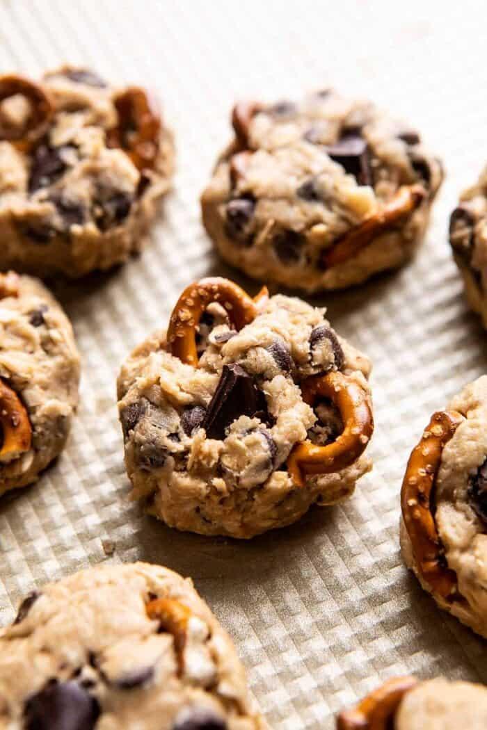 Salted Pretzel Cowboy Party Cookie dough baking