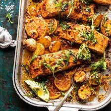 Sheet Pan Salmon with Citrus Avocado Salsa and Potatoes | halfbakedharvest.com #sheetpan #salmon #healthy
