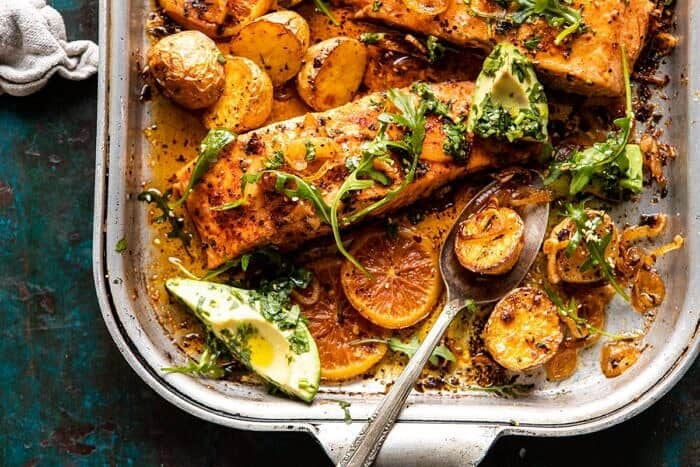 horizontal photo of Sheet Pan Salmon with Citrus Avocado Salsa and Potatoes