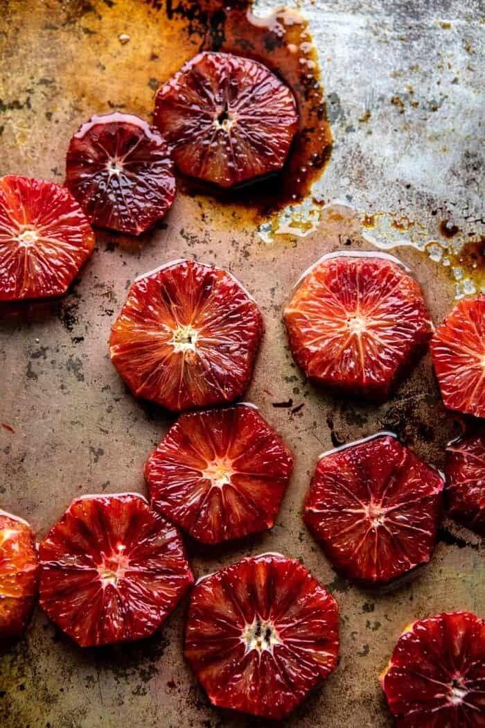 blood oranges after roasting on baking sheet