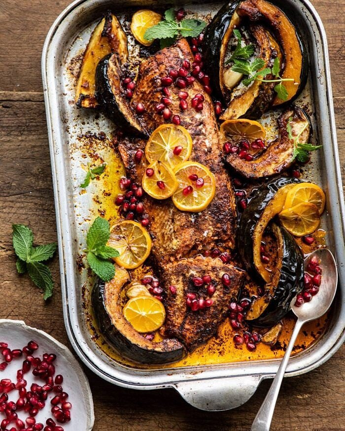 Slow Roasted Moroccan Salmon with Winter Squash | halfbakedharvest.com