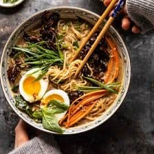 30 Minute Creamy Sesame Miso Ramen with Crispy Mushrooms.