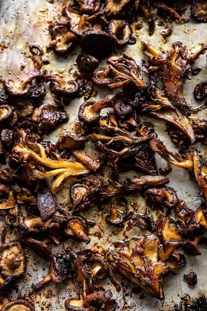 overhead photo of Crispy Mushrooms on baking sheet
