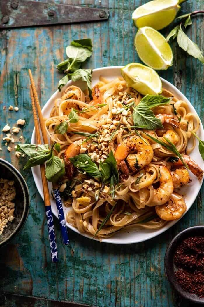 overhead photo of Better Than Takeout Garlic Butter Shrimp Pad Thai