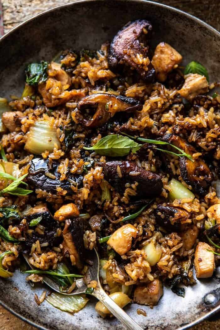 overhead close up photo of Better Than Takeout Sesame Ginger Chicken Fried Rice