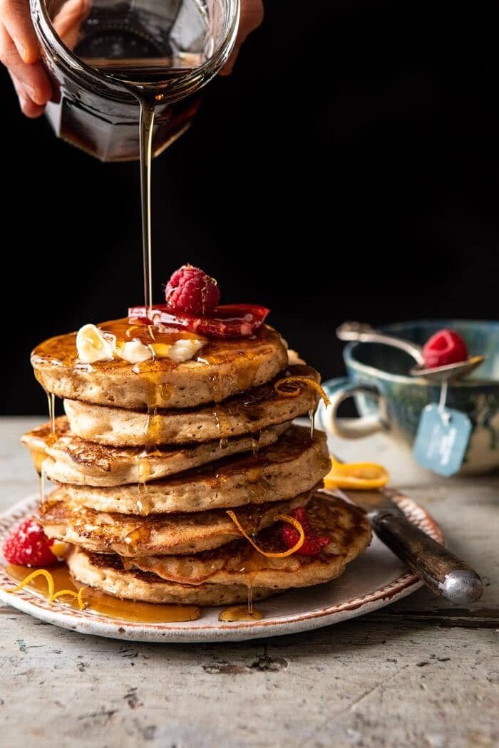 Earl Grey Lemon Ricotta Pancakes with Salted Maple Butter.