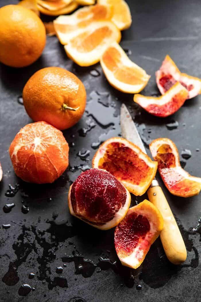 prep shot of raw blood oranges