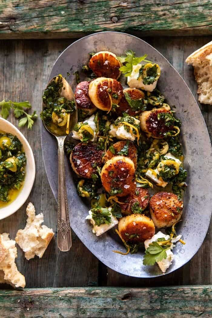 Herbed Garlic Butter Scallops with Lemony Feta Dressing | halfbakedharvest.com