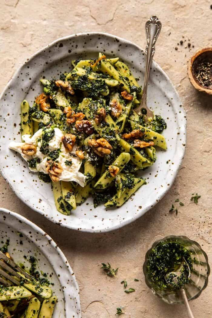 overhead photo of Herby Kale Pesto Pasta with Buttery Walnuts
