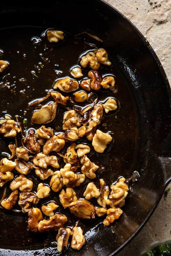 overhead photo of Buttery Walnuts in skillet