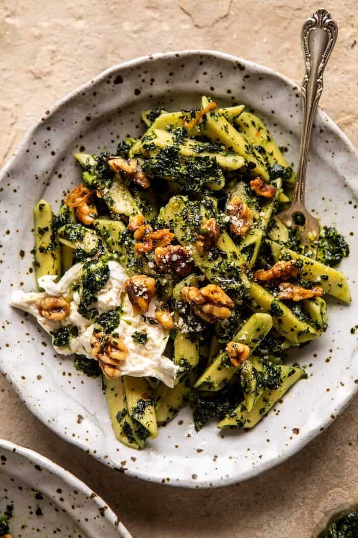 Herby Kale Pesto Pasta with Buttery Walnuts | halfbakedharvest.com