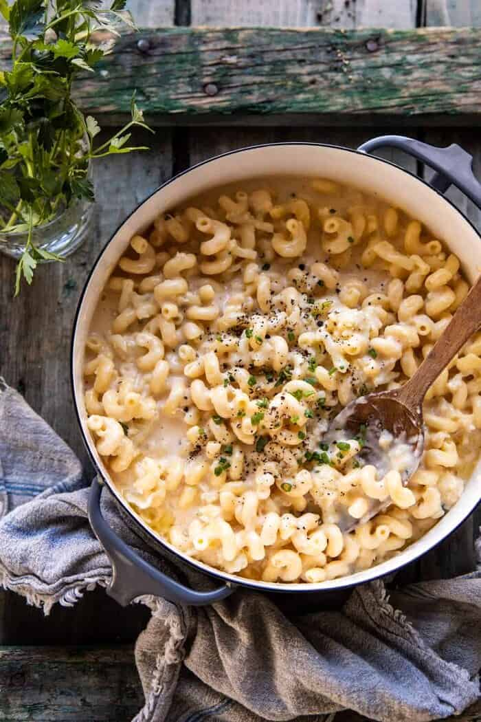 overhead photo of One Pot Creamy Cauliflower Mac and Cheese