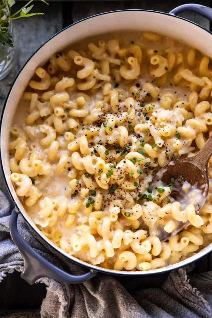 overhead close up photo of One Pot Creamy Cauliflower Mac and Cheese