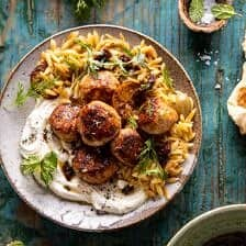 One Skillet Greek Meatballs and Lemon Butter Orzo.