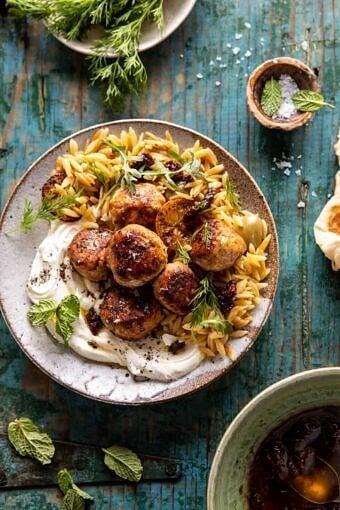 One Skillet Greek Meatballs and Lemon Butter Orzo | halfbakedharvest.com