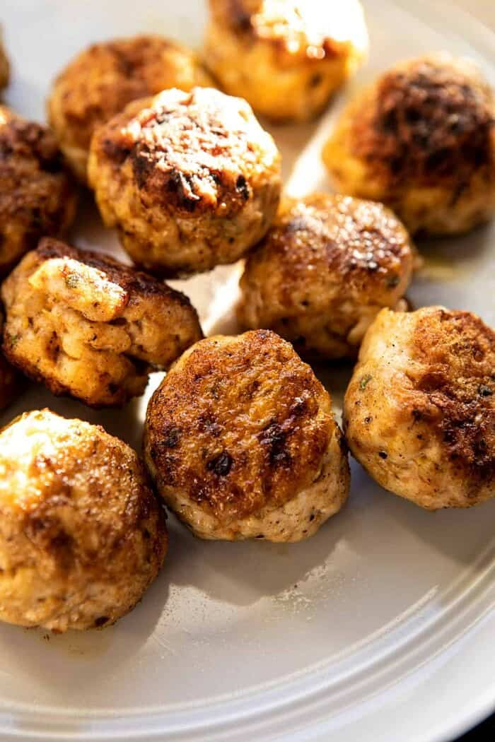 Greek Meatballs on plate after cooking