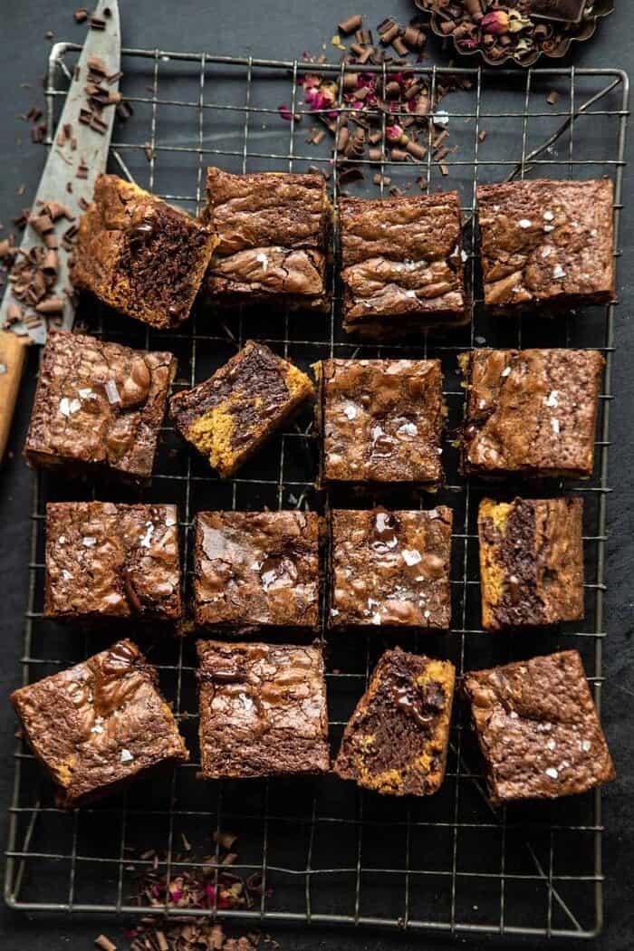 overhead photo of Salted Cookie Crinkle Top Brownies