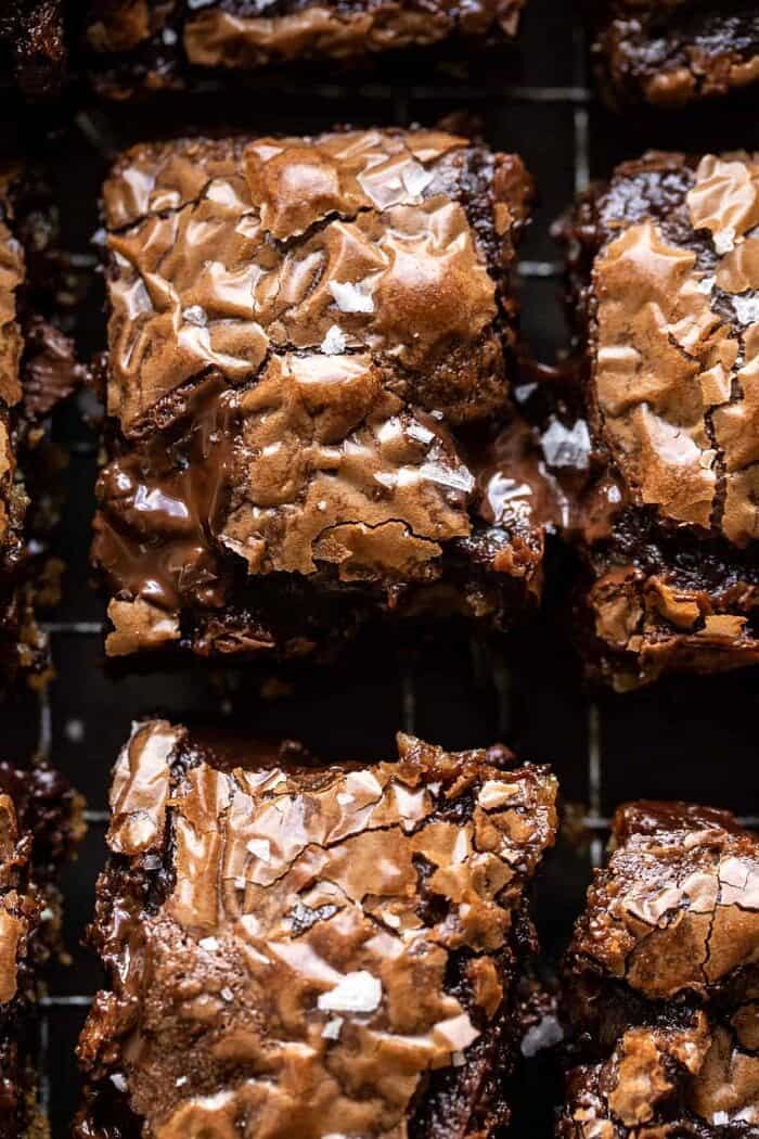 overhead close up photo of Salted Cookie Crinkle Top Brownies
