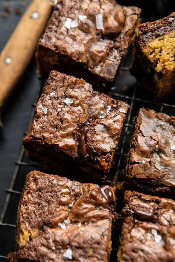 side angle close up photo of Salted Cookie Crinkle Top Brownies